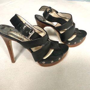Michael Kors Black Leather Platform Sandals